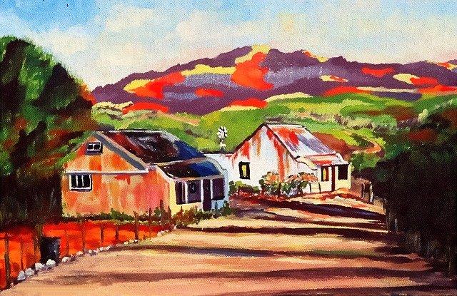 malovaný obraz krajiny