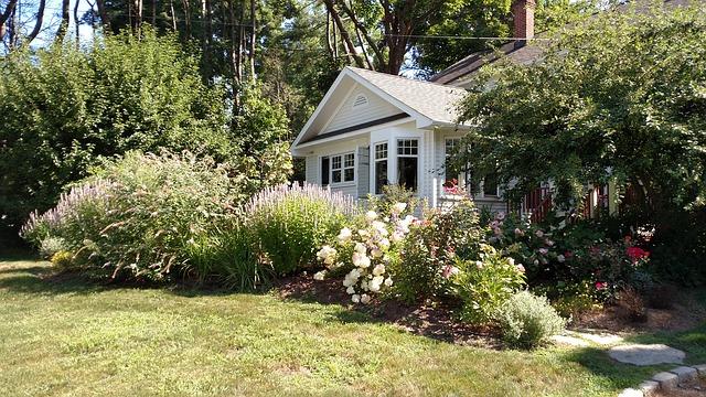 rozkvetlá zahrada u domu