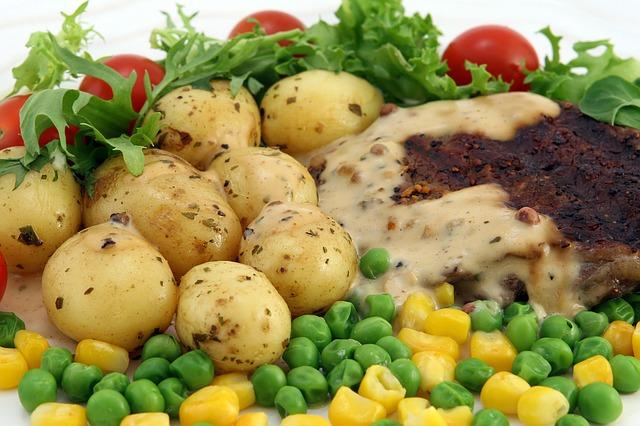 jídlo, zelenina, hrášek, kukuřice