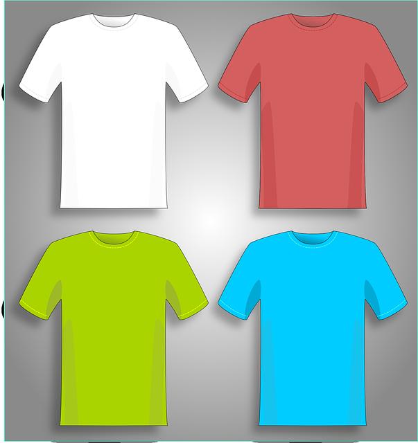 barevná trička na šedém podkladu