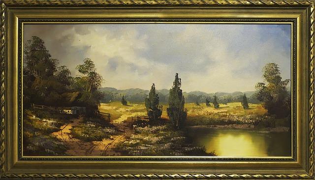 starý obraz s krajinkou